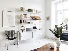 Cozy and Inviting Gothenburg Apartment - Nordic Design Workspace Inspiration, Living Room Inspiration, Interior Inspiration, String Regal, String Shelf, Love Your Home, Shop Interiors, Living Furniture, Inspired Homes
