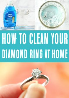 Diamond Ring Cleaner! How to Clean it at Home! DIY tricks make everything easier, and this simple little tip, straight from my jeweler, works like a charm! Have YOU tried this yet?? Hacks Diy, Cleaning Hacks, Cleaning Products, Diy Cleaners, Cleaners Homemade, Cleaning Diamond Rings, Ring Cleaner, Life Hacks Every Girl Should Know, Diy Rings