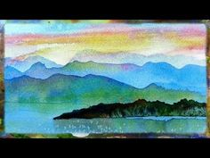 Watercolor Painting Demo Imaginary Landscape, Watercolor Sunset Part 2