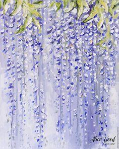 Oil painting Wistaria   Купить «Глициния» - 3D картина маслом на холсте с цветами глицинии 50/40/3.8 - фиолетовый, сиреневый
