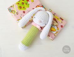 Sleepy Bunny Baby Rattle  Clutch Toy  PDF Crochet by TillySome