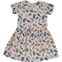 """""""Mini Moi"""" White Feather Motif A-Line Dress - TK Maxx"""