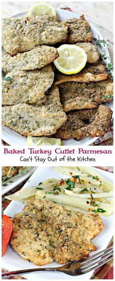 Delicious way to prepare turkey cutlets. Dip in breadcrumbs, parmesan cheese, thyme, parsley and lemon pepper. Drizzle with olive oil. Amazing flavor.