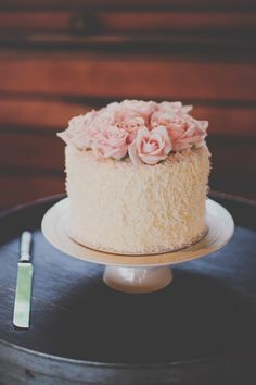 Simple Wedding Cake with Pink Roses