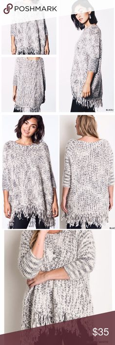 """BEST SELLER! CHUNKY KNIT SWEATER IS BACK! The most sought after sweater last season is back! Black and white knit tweed sweater with frayed hem, dolman sleeves-so soft and comfy you will be in this every day! Acrylic knit. Oversized and delicious! XL/1X bust and hips about 72"""" length about 32"""". tla2 Sweaters Crew & Scoop Necks"""