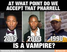 Pharrell is not a vampire. Black just doesn't crack