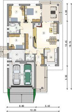 Ostoja Plus II. Parterówka z dużą kotłownią i zadaszonym tarasem - Studio Atrium Modern Family House, Modern House Plans, Modern House Design, 2bhk House Plan, House Plans Mansion, Building Design, Building A House, Villa Plan, Green Architecture