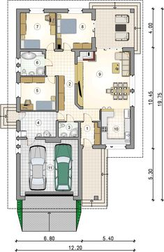 rzut parteru - projekt Ostoja Plus II 2bhk House Plan, House Plans Mansion, Dream House Plans, Modern Family House, Modern House Plans, Modern House Design, Building Design, Building A House, Villa Plan