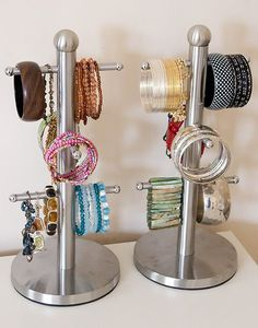 Organize your bangles on mug trees. I've done this for years! They're also good to hang shorter necklaces from