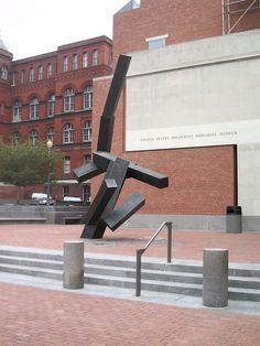 "U.S. Holocaust Memorial Museum, Washington, DC. Sculpture ""Loss and Regeneration"" by Joel Shapiro, 1993, located in back of the museum -   U.S. Holocaust Memorial Museum, Washington, DC, Dedicated 1993. Photo by Artstuffmatters"