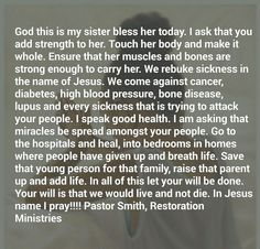 Sister Prayer, Prayers For Sister, My Sister, Touching Herself, Names Of Jesus, Diabetes, Sick, Blessed, Cancer