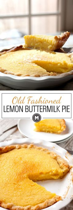 Old Fashioned Lemon Buttermilk Pie: This custard pie is such an unassuming pie. That's good news because it means people won't go for it first. But, once someone tries it, it'll go quick. Easy to make with just a few ingredients! Lemon Desserts, Lemon Recipes, Pie Recipes, Just Desserts, Delicious Desserts, Dessert Recipes, Cooking Recipes, Yummy Food, Lemon Cakes