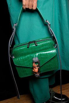 Kenzo Fall 2019 Men's Fashion Show Backstage, crocodile texture leather green bag, cool small satchel green leather bag in crocodile skin texture Cheap Purses, Purses For Sale, Cute Purses, Luxury Bags, Luxury Handbags, Purses And Handbags, Leather Purses On Sale, Womens Designer Purses, Kenzo