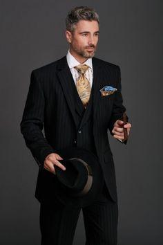 Men's Fashion Suit by Steven Land - Jameson Black Pinstripe, steven land sl 1086, sl1086