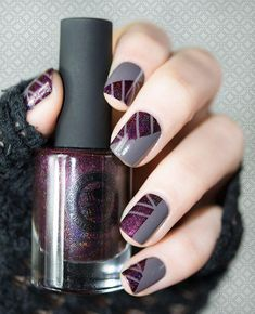 50 Geometric nail art designs for 2019 Geometric Nail Art designs are most popular nail designs aamong nail fashion because of the actuality that these Geometric Nail Art, Burgundy Nails, Purple Nails, Best Nail Art Designs, Glitter Nail Art, Creative Nails, Nail Stamping, Cool Nail Art, Trendy Nails