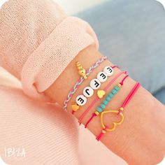 - Ibiza Musthaves Armbandjes Setje Goud Roze Turquoise ♡ available at www. Letter Bead Bracelets, Neon Bracelets, Summer Bracelets, Beaded Bracelets, Bracelet Making, Bracelet Set, Jewelry Making, Beaded Anklets, Handmade Beaded Jewelry