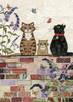 Awesome inspiration for free motion embroidery and raw edge applique - on a website called Bug Art . Cat Applique, Raw Edge Applique, Free Motion Embroidery, Machine Embroidery, Illustration Noel, Illustrations, Sewing Machine Drawing, Art Carte, Bug Art