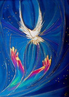 Veritasse - Christian Art produces the work of Christian artists as greetings cards and prints, all with a Christian theme. - Welcome Holy Spirit by Yvonne Bell Religion, Art Prophétique, Saint Esprit, Prophetic Art, Biblical Art, Church Banners, Holy Ghost, Sacred Art, Bible Art