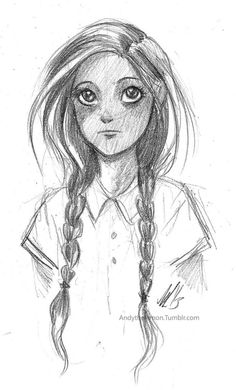 THG (The Hunger Games) character sketch || younger Katniss | it's like a Disney looking Katniss or even Prim!
