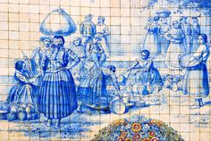 Traditional tiles with rural scenes in Viseu. Azulejos, Portugal
