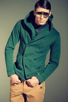 green coat & shades