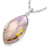 Pugster Leaf With Detailed Crystal And November Birthstone Topaz Crystal Pendant