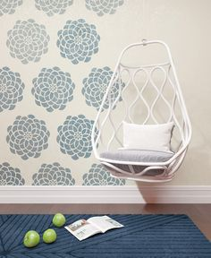 Wall Painting Stencil - Decorative Round Flower Wall Stencil