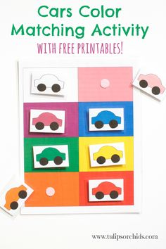 This cars color matching activity incorporates learning colors as well as sensory development. Use for toddlers as is, or as a memory game for bigger kids. Fun and free printable!