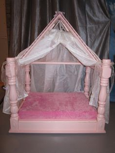 SOLD UPCYCLED Princess Canopy Bed $100 OBO   Stevensville, ON http://doggroomingbyjanice.wordpress.com/for-sale/pet-beds/princess-canopy-bed/#