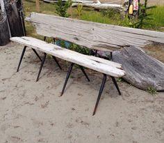 Driftwood bench from old kitchen chair frames. Garden Art, Garden Design, Garden Ideas, Recycled Garden, Old Kitchen, Kitchen Chairs, Upcycled Furniture, Picnic Table, Driftwood