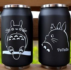 L-Zonc Black Totoro Thermos 10-ounce Backpack Bottle