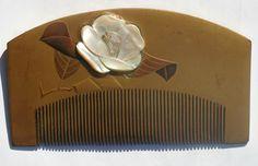 Kanzashi Geisha Japanese Large Lacquer Edo Hair Comb MOP Flower Design | eBay