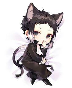 Akutagawa = black cat Chibi Boy, Cute Chibi, Anime Chibi, Anime Art, Black Cat Anime, Dazai Bungou Stray Dogs, Stray Dogs Anime, Anime Puppy, Bungou Stray Dogs Characters