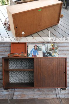 MCM Buffet with Hairpin Legs :: Themed Furniture Makeover Day - brepurposed