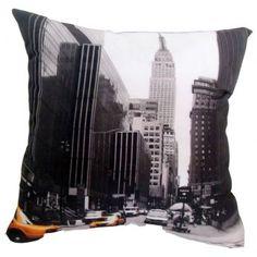 Almofada Impressão Digital Nova York Preto e Branco 42x42cm Uniart