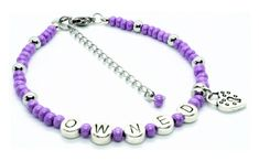 Owned Anklet with Lock Charm - Purple Glass Beads / Stainless Steel Spacer Beads Zinc Alloy Metal Letters / Zinc Alloy Metal Lock Charm 8 long with 2 Extension chain, Stainless Steel Lobster Clasp & Extension Aquarius Lover, Collars Submissive, Metal Letters, Purple Glass, Anklets, Silver Beads, Round Beads, Glass Beads, Chokers