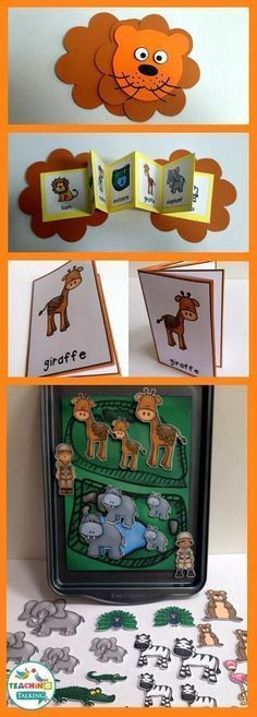 Fun zoo themed vocabulary activities for kids includes syllables pin activity, lion craft and center games.