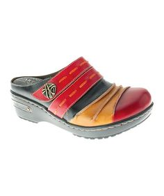 Another great find on #zulily! Black & Red Reggae Leather Clog by L'Artiste by Spring Step #zulilyfinds