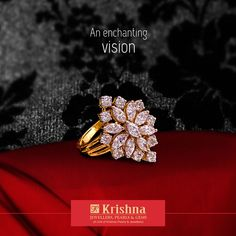 This specially curated ring is a delight to wear. Make it yours at Krishna Jewellers Pearls & Gems. Gold Earrings Designs, Gold Jewellery Design, Ring Designs, Diamond Finger Ring, Unique Diamond Rings, Gold Rings Jewelry, Mom Jewelry, Indian Jewelry Sets, Rings For Girls
