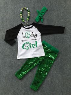 "St. Patricks Day ""Lucky Girl"" Sequin Boutique Outfit St.Patricks Girls Outfit ( 2T-9 years)-PREORDER"