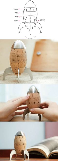Wooden Rocket Shaped Perpetual Calendar