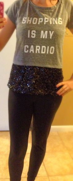 Shopping is my cardio! With Sequins and Leather Leggings!