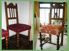 Sila tapizada antes y después Furniture Covers, Diy Furniture, Big Bedrooms, Bedroom Storage, Repurposed, Dining Chairs, Interior, Design, Home Decor