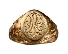 1905 Art Nouveau Signet Ring with Nudes, 14K Gold: Erie Basin Antiques