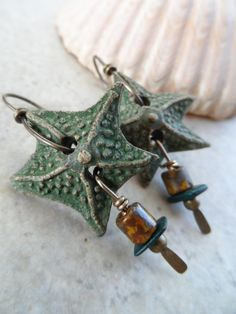 Rustic Starfish ... Clay and Brass Wire-Wrapped Earrings
