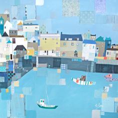 Padstow Patchwork (LP52) Boats and Harbour Print by Liz Kate Pope www.thewhistlefish.com/product/lp52f-patchwork-padstow-framed-art-print-by-liz-and-kate-pope