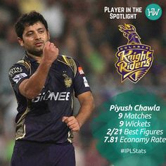 Our Player in the Spotlight for Kolkata Knight Riders is Piyush Chawla! He has been taking wickets consistently and his the captain's go-to spinner! #IPL #IPL2016 #cricket #KKR #KKRvRPS