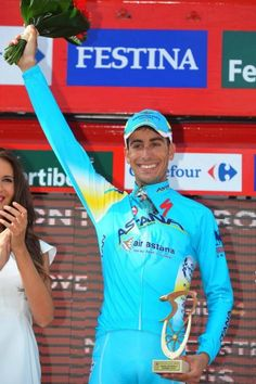 A jubilant Fabio Aru (Astana) after his second Vuelta stage win                                                       #procycling #cyclingpro #cycling