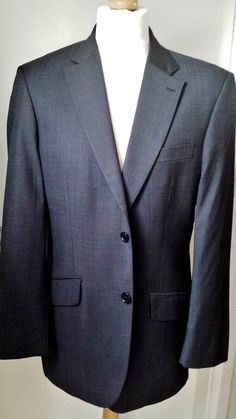 Austin Reed Suit Jacket Mens 40R Grey Super 100 s Wool