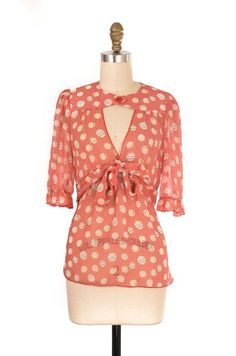 Lily White Red Pattern Sheer Top Size S | ClosetDash #fashion #style #tops #blouse